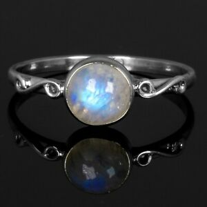 925 Sterling Silver Moonstone Gemstone Ladies Round Ring Jewellery Gift Boxed