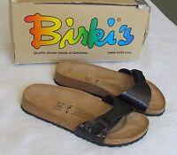 NEW Birkis By Birkenstock Ladies Black Patent Croc Print Mules Sandals Size 5 38