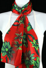 Poinsettia Womens Scarf Christmas Xmas Holiday Fashion Red Gift Scarves New