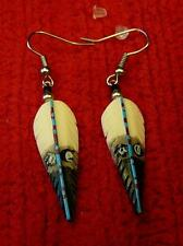 Awesome!!! Bone Golden Eagle Feather Earrings - Native American