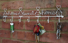 Home Sweet Home Sign Hook Rack Key Heart Tidy Shabby Kitchen Chic  White  New