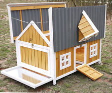 LARGE CHICKEN COOP OPENING ROOF HOUSE POULTRY ARK HUTCH RUN NEW LARGE PLASTIC