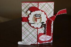 Stampin Up Owl Merry Christmas with Santa hat homemade greeting card 7941