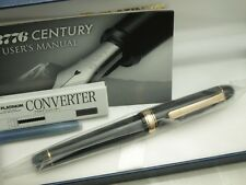 Japanese FP PLATINUM #3776 CENTURY Black 14K Medium nib with Converter