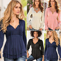 Women V Neck Long Sleeve Ruffle Peplum Blouse Strappy Lace Up Casual T-Shirt Top