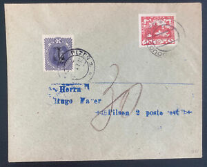 1919 Doudlevce Czechoslovakia Imperf Stamp Cover To Pilsen