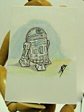 STAR WARS R2-D2 ACEO Print Card By Phil Born  watercolor pen and ink