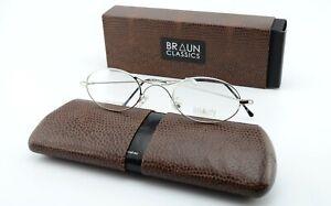BRAUN Classics Brille 201 F1 44-23 Hypoallergenic Oval Specs Silver Shine Small