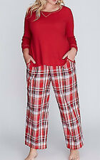 Cacique Lane Bryant 2pc Pajama Set 14/16 Red Top Holiday Plaid Pants Sparkle New