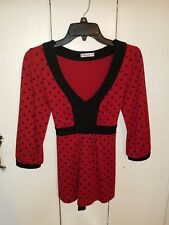 Womens Forever Red & Black Babydoll Blouse Shirt with Ties SMALL made in the USA