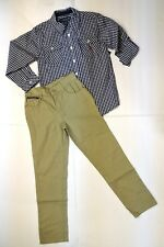US Polo Assn. Khaki Big Boys 2 Piece Checkered Shirt Set (Size 8, 10, 12)