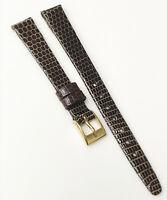 Hirsch Genuine Lizard Leather Dark Brown Tone 10mm Gold Buckle Watch Band