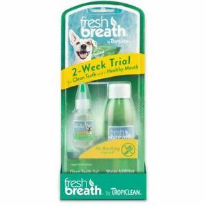 Tropiclean Fresh Breath Oral Dog Dental Puppy 2 Week Trial Kit Remove Plaque x4