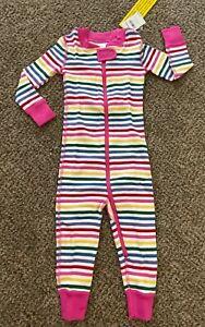 NWT HANNA ANDERSSON Baby Zip Sleeper Multi Stripe Rainbow 80 18-24 Pajamas