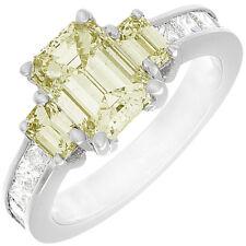 Emerald Cut 18k Gold Fancy Yellow 4.00 Carat GIA Certified Diamond Ring
