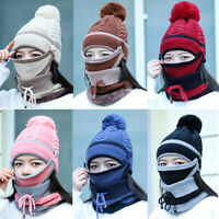 3Pcs Women Beanie Knit Slouchy Baggy Lined Winter Warm Hat Ski Cap Scarves Mask
