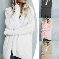 Women Long Sleeve Knitted Fluffy Soft Warm Cardigan Sweater Casual Coat Outwear