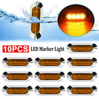 10x Amber 4 LED Clearance Side Marker Light Car Truck Trailer Caravan Tail Lamp