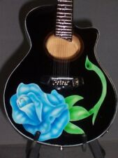 Mini Acoustic Guitar POISON BRET MICHAELS GIFT Memorabilia FREE STAND Blue Rose