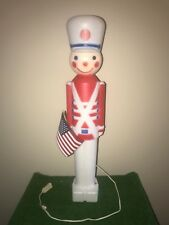 "Vintage 31"" Patriotic Lighted Blow Mold Toy Soldier With Flag Yard Decoration #2"