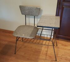 TRI-PAR MID CENTURY MODERN TELEPHONE TABLE GOSSIP BENCH CHAIR ATOMIC ERA RETRO
