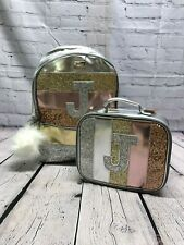 NEW JUSTICE Gold Glitter Stripe Initial  Backpack & Matching Lunch Box Tote