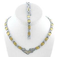 Stainless Steel 2 Tone I LOVE YOU Hugs & Kisses Set XO Necklace & Bracelet 18''
