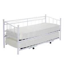 Metal Bed Frame Day Bed with Trundle Single Double Sofa Guest Bed + Mattress