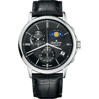 NEW Edox Les Bemonts Men's Moon-Phase-Calendar Watch - 01651-3-NIN