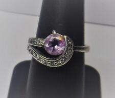 Pretty Sterling Silver Marcasite Lavender Purple Stone Band Ring Size 7 3/4