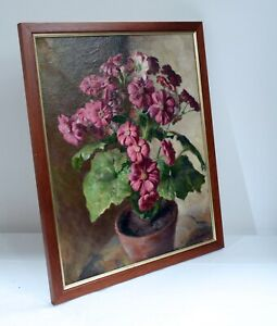 Signed Vintage Oil Painting in Wooden Frame Depicting Flowers - Voysey, 1936