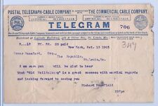 Postal Telegraph Cable Company TELEGRAM from Actor Richard Mansfield 1903