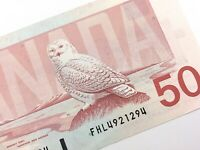 1988 Canada 50 Fifty Dollar Uncirculated FHL Prefix Thiessen Crow Banknote R227