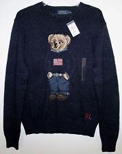 Polo Ralph Lauren Mens Navy Blue RL Flag Polo Bear Cotton Linen Sweater NWT XL