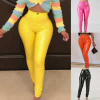 HIGH WAIST FAUX LEATHER WOMEN SKINNY PENCIL PANTS FLEECE LINED TROUSERS SUPERB