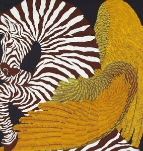 Black Gold Unique  Zebra Print 100 % silk Luxury Arty Bright Long Neck Scarf
