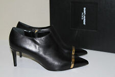 New Saint Laurent Black Leather Pointed Cap Toe Mid-Heel Ankle boot Shoes 9 / 39