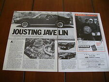 1973 AMC JAVELIN AMX  ***ORIGINAL 1986 ARTICLE***