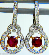 2.40CT NATURAL FINE GEM RED RUBY DIAMOND EARRINGS DANGLE HOOP 14KT+