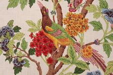4 Drapes Heirloom Linen Bird Toile Whippoorwill Platinum Summer Colorway