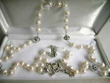 Bali 925 Sterling Silver Beads AAA Real Pearl Rosary nice Crucifix Necklace box