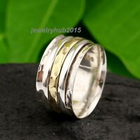 Wide Band Spinner Ring,925 Sterling Silver Ring for Women, Fidget Meditation D18