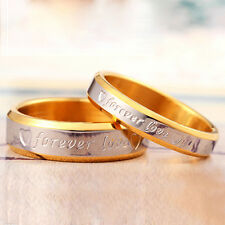 Women Forever Love Band Ring Engagement Engraving Promise Gold Plated Modern Hot