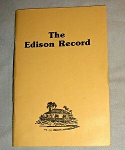 Vintage THE EDISON RECORD pocket paperback book Ft. Meyers winter home tour VG+