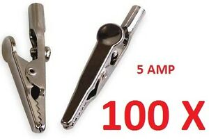 100 X 5 AMP CROCODILE CROC CLIP 5A BATTERY CHARGER CARAVAN ELECTRIC CLAMP TEST