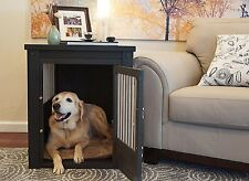 Large Dog Crate Pet End Table 2 Latch Espresso Black Wooden Kennel Home Decor