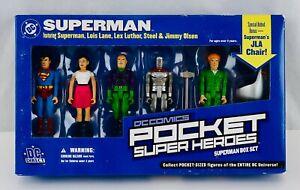 DC Direct Superman Pocket Super Heroes Action Figure Box Set JLA Chair New NRFB
