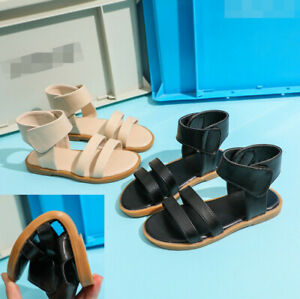 GIRLS SUMMER BEACH GLADIATOR SANDALS KIDS BUCKLE ANKLE STRAP OPEN TOE SHOES SIZE
