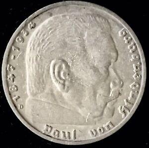 1935 D 5 Mark Third Reich Nazi German Silver Coin
