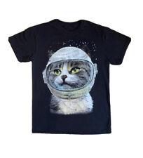 Cat Kitty Astronaut Shirt Men's Size Small Medium Space Galaxy Kitten Black Grey